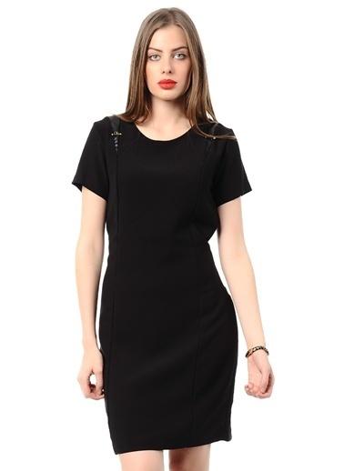 Asymmetry Kısa Kollu Dar Elbise Siyah